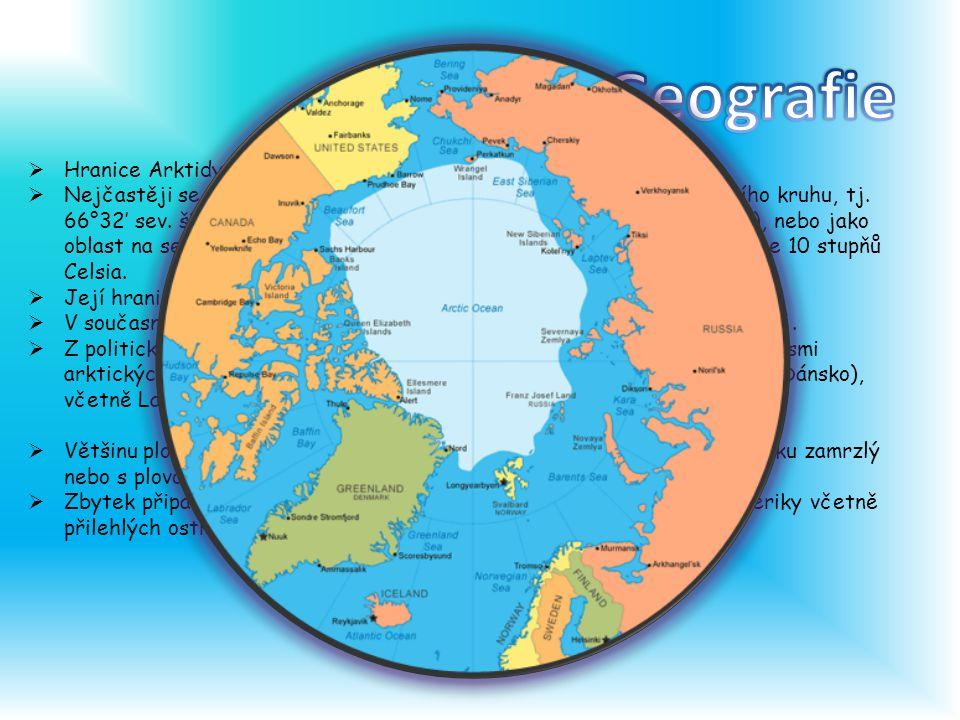Geografie Hranice Arktidy lze stanovit různými způsoby.