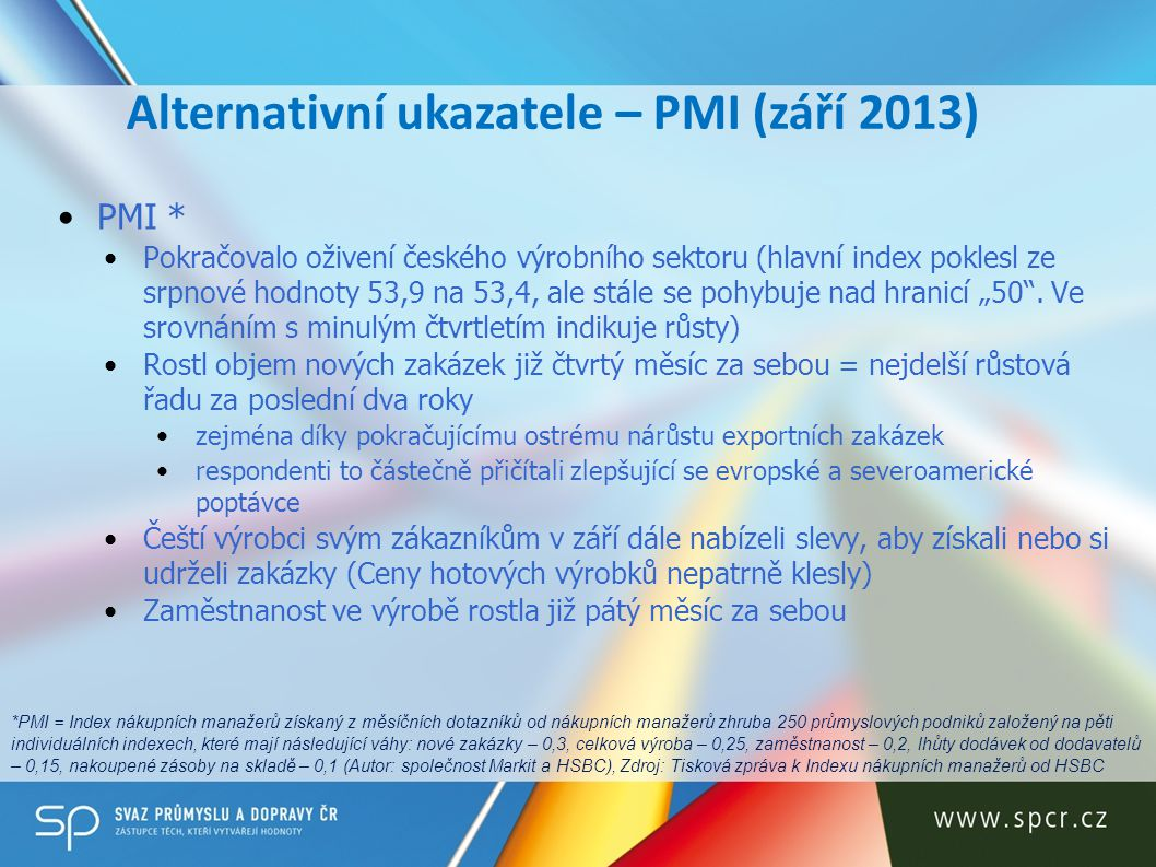 Alternativní ukazatele – PMI (září 2013)