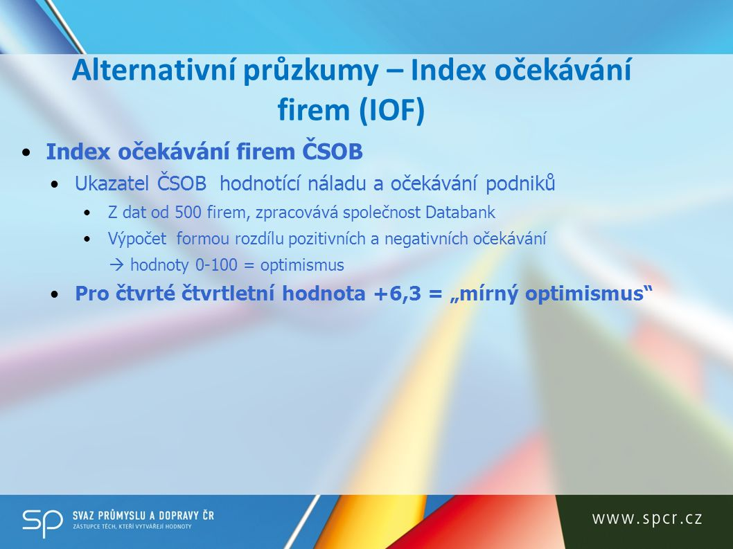 Alternativní průzkumy – Index očekávání firem (IOF)