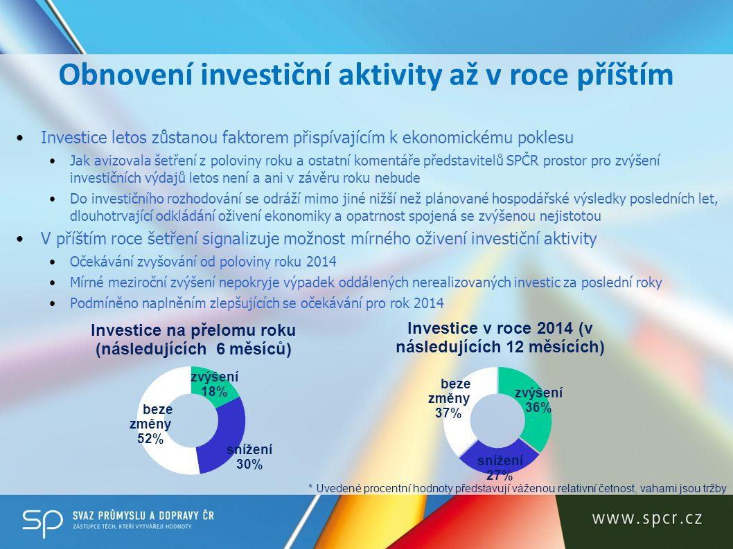 Obnovení investiční aktivity až v roce příštím