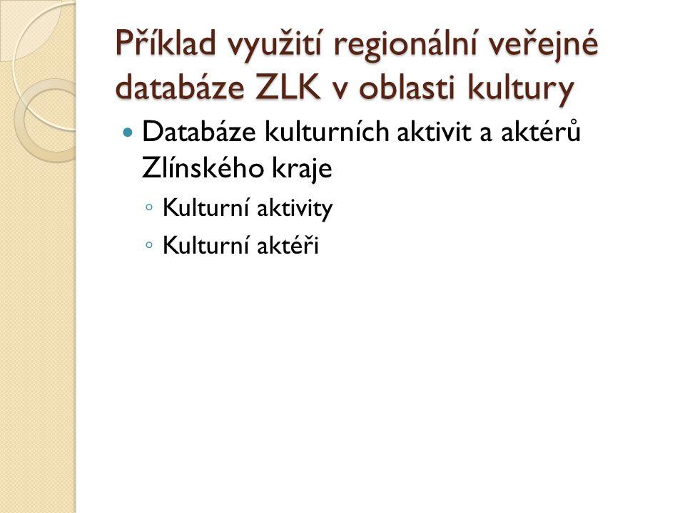 Příklad využití regionální veřejné databáze ZLK v oblasti kultury