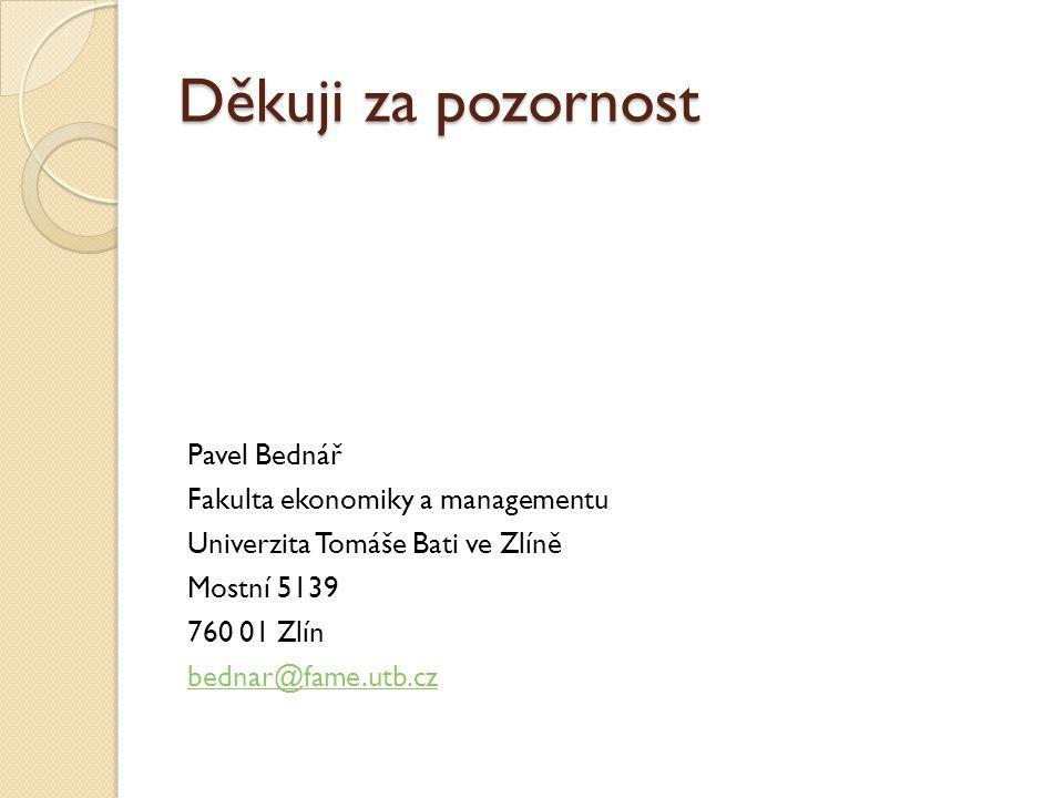Děkuji za pozornost Pavel Bednář Fakulta ekonomiky a managementu Univerzita Tomáše Bati ve Zlíně Mostní 5139 760 01 Zlín bednar@fame.utb.cz