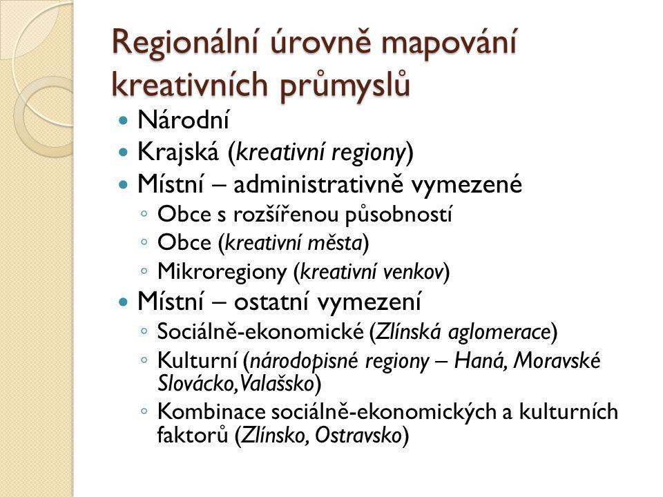 Regionální úrovně mapování kreativních průmyslů
