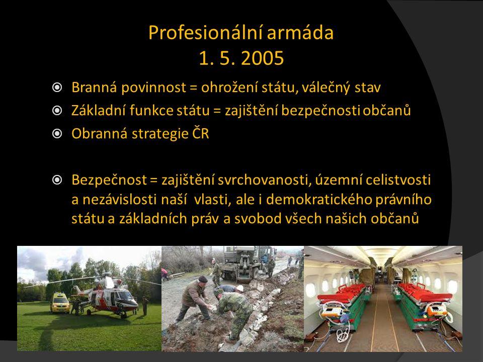 Profesionální armáda 1. 5. 2005 Branná povinnost = ohrožení státu, válečný stav. Základní funkce státu = zajištění bezpečnosti občanů.
