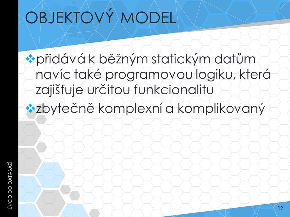 Objektový model Úvod do databází. přidává k běžným statickým datům navíc také programovou logiku, která zajišťuje určitou funkcionalitu.