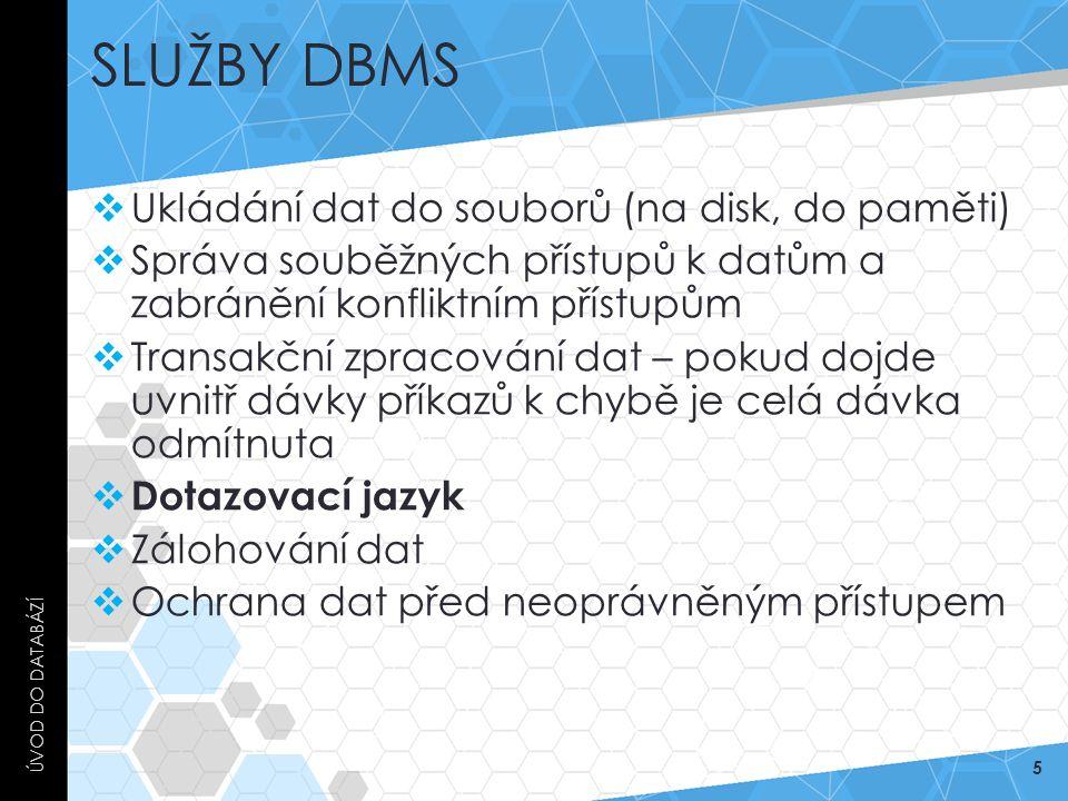 Služby DBMS Ukládání dat do souborů (na disk, do paměti)