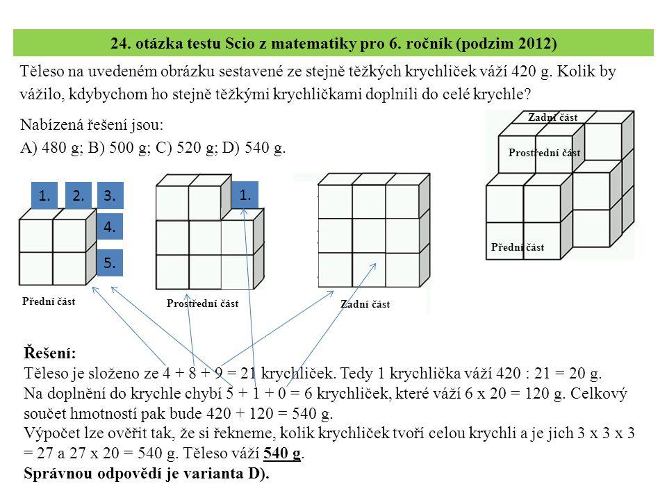 24. otázka testu Scio z matematiky pro 6. ročník (podzim 2012)