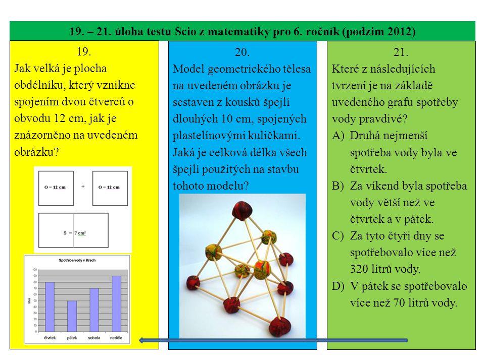 19. – 21. úloha testu Scio z matematiky pro 6. ročník (podzim 2012)