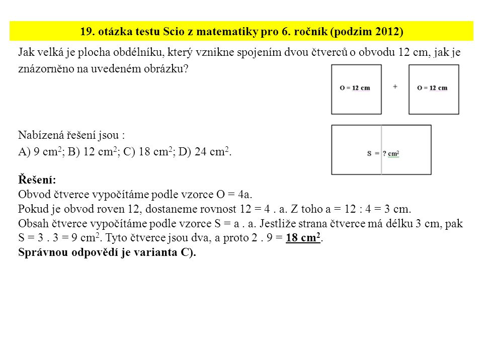 19. otázka testu Scio z matematiky pro 6. ročník (podzim 2012)