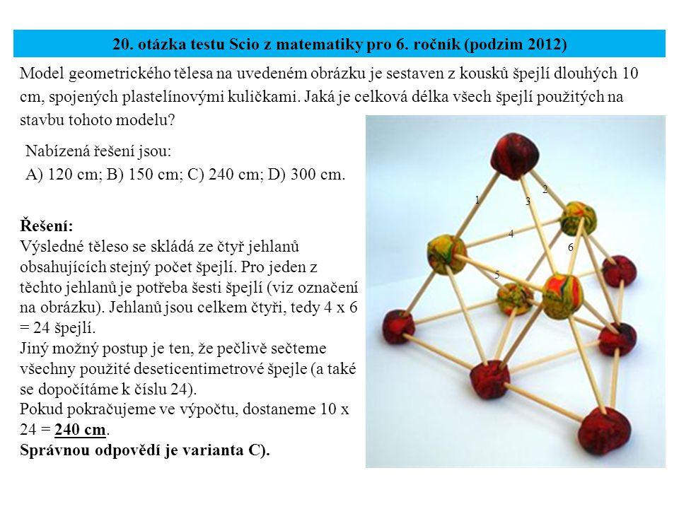 20. otázka testu Scio z matematiky pro 6. ročník (podzim 2012)