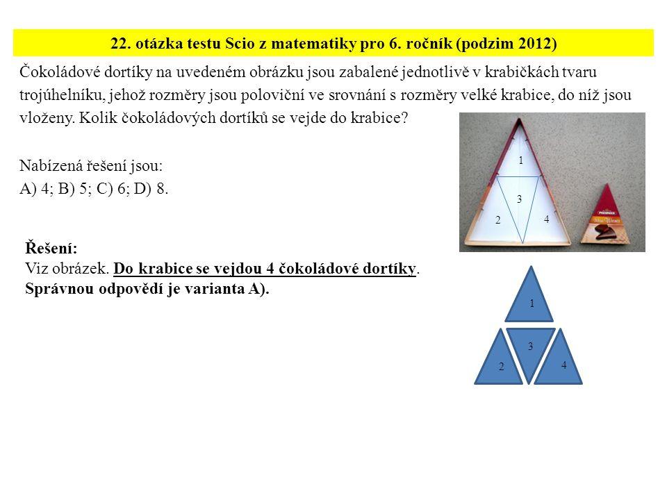 22. otázka testu Scio z matematiky pro 6. ročník (podzim 2012)