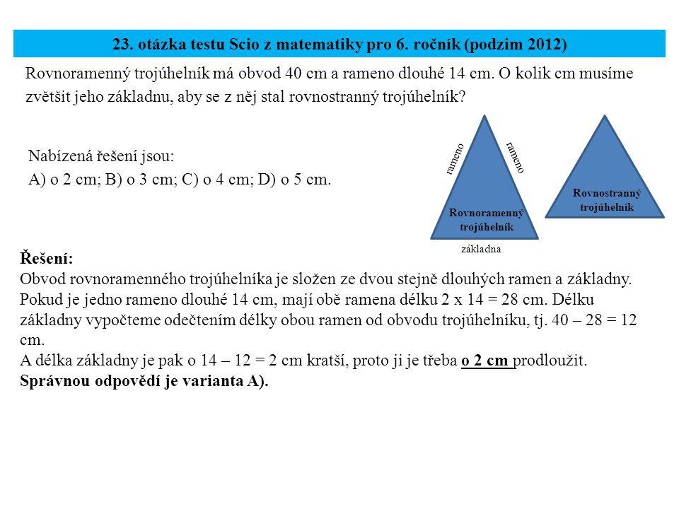 23. otázka testu Scio z matematiky pro 6. ročník (podzim 2012)