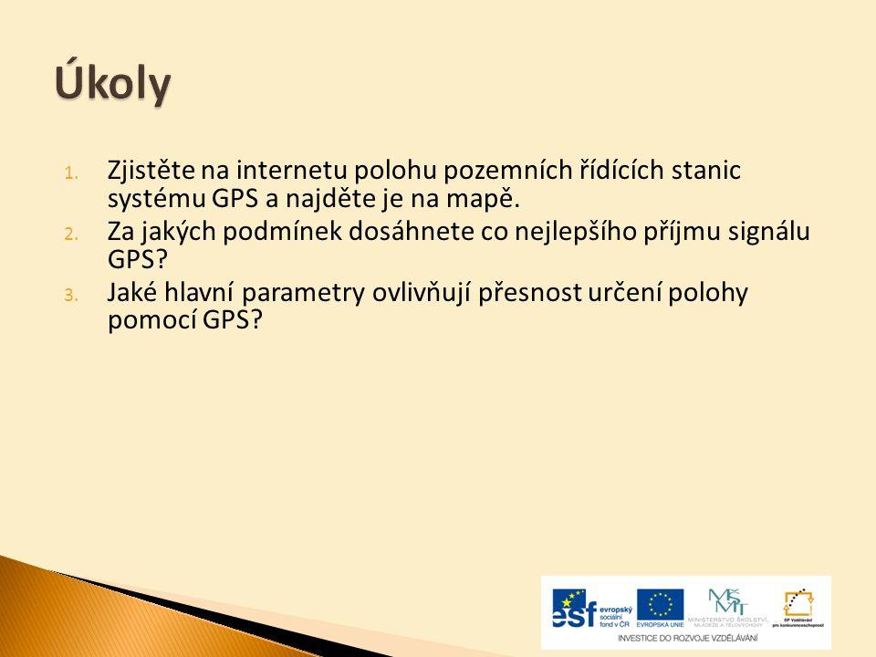 Úkoly Zjistěte na internetu polohu pozemních řídících stanic systému GPS a najděte je na mapě.