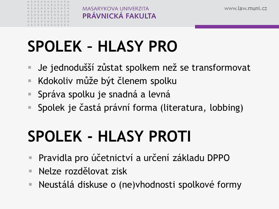 SPOLEK – HLASY PRO SPOLEK - HLASY PROTI
