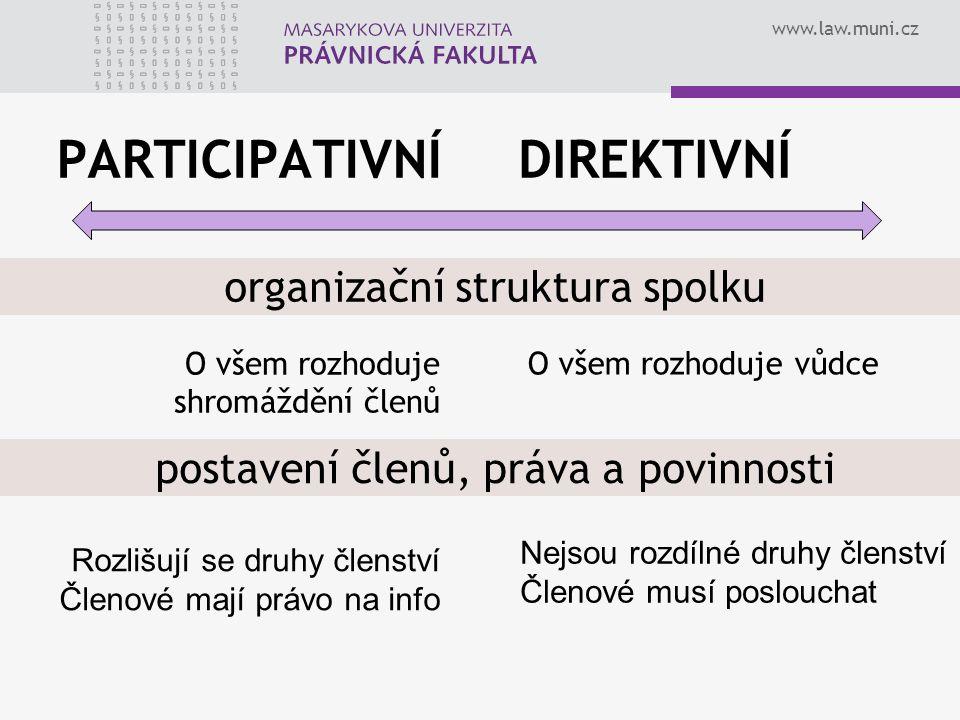 PARTICIPATIVNÍ DIREKTIVNÍ organizační struktura spolku
