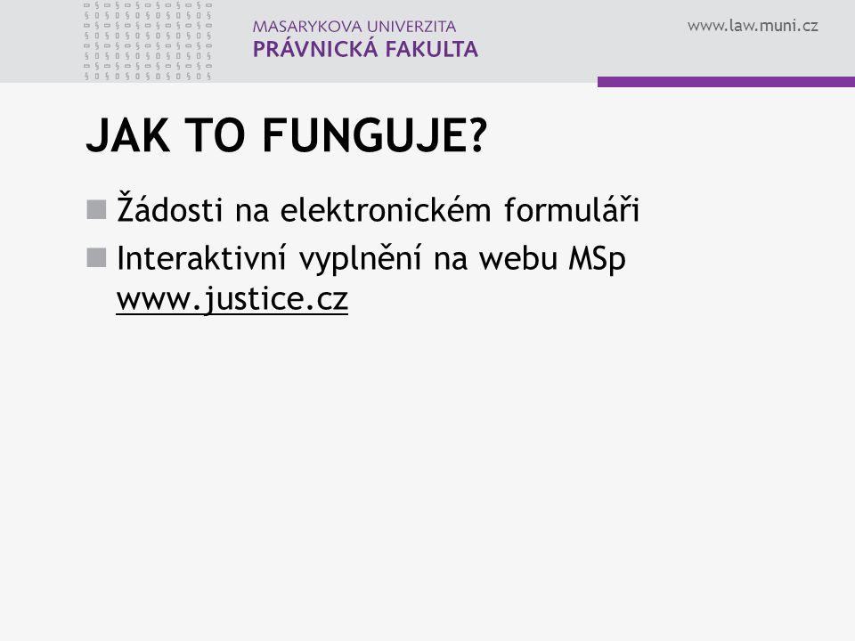 JAK TO FUNGUJE Žádosti na elektronickém formuláři