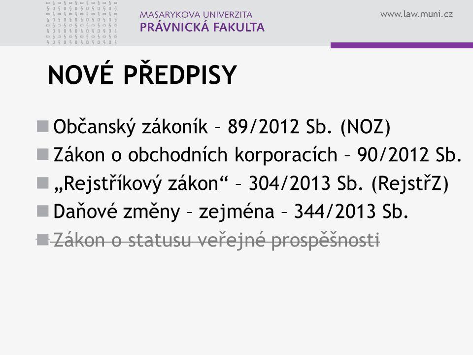 NOVÉ PŘEDPISY Občanský zákoník – 89/2012 Sb. (NOZ)