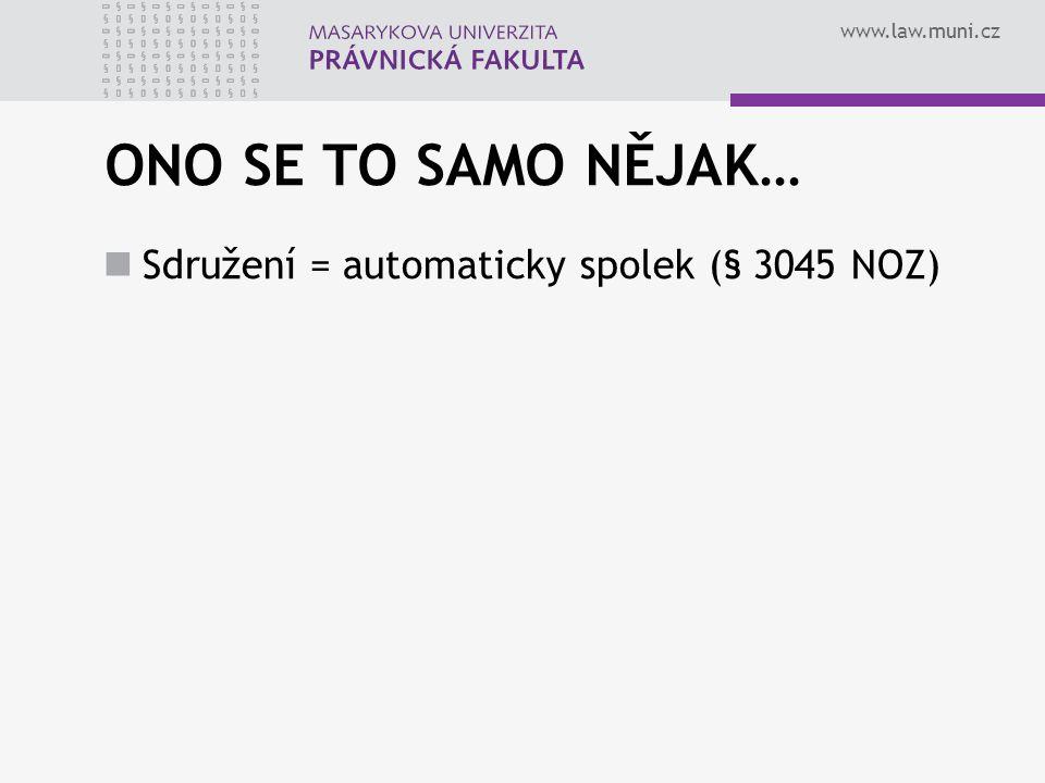 ONO SE TO SAMO NĚJAK… Sdružení = automaticky spolek (§ 3045 NOZ)