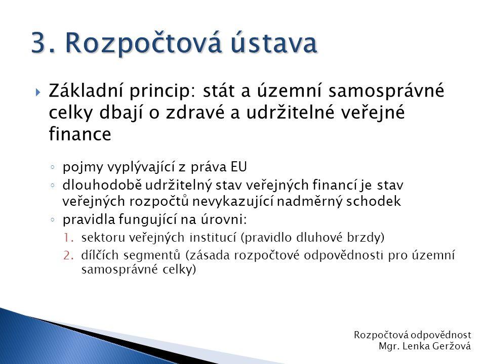 3. Rozpočtová ústava Základní princip: stát a územní samosprávné celky dbají o zdravé a udržitelné veřejné finance.
