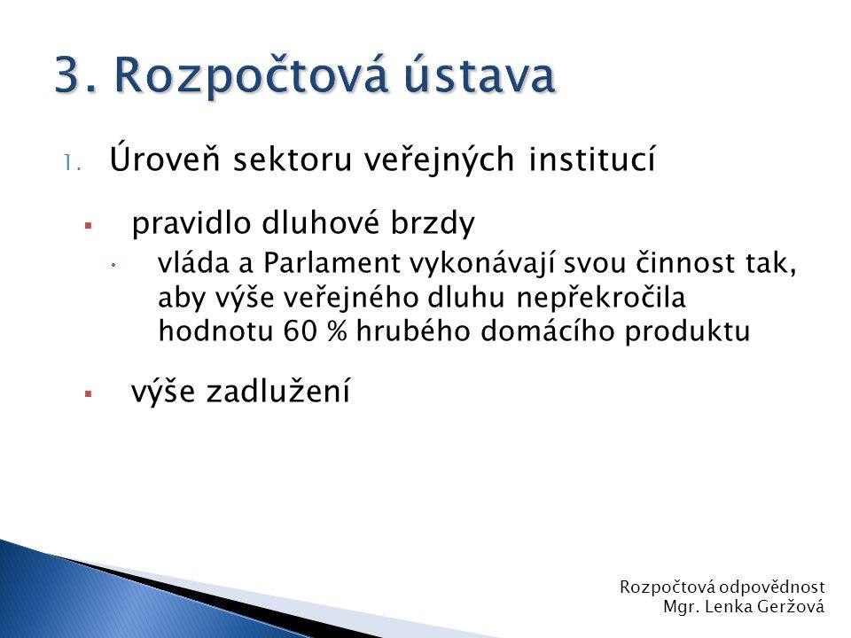 3. Rozpočtová ústava Úroveň sektoru veřejných institucí