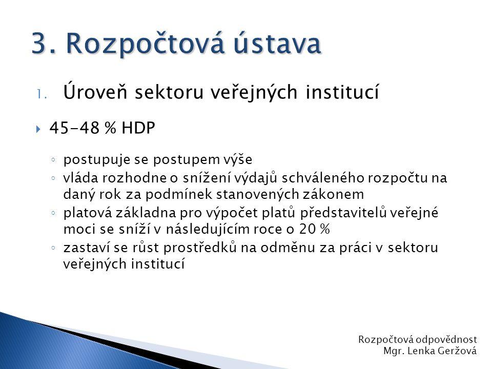 3. Rozpočtová ústava Úroveň sektoru veřejných institucí 45-48 % HDP