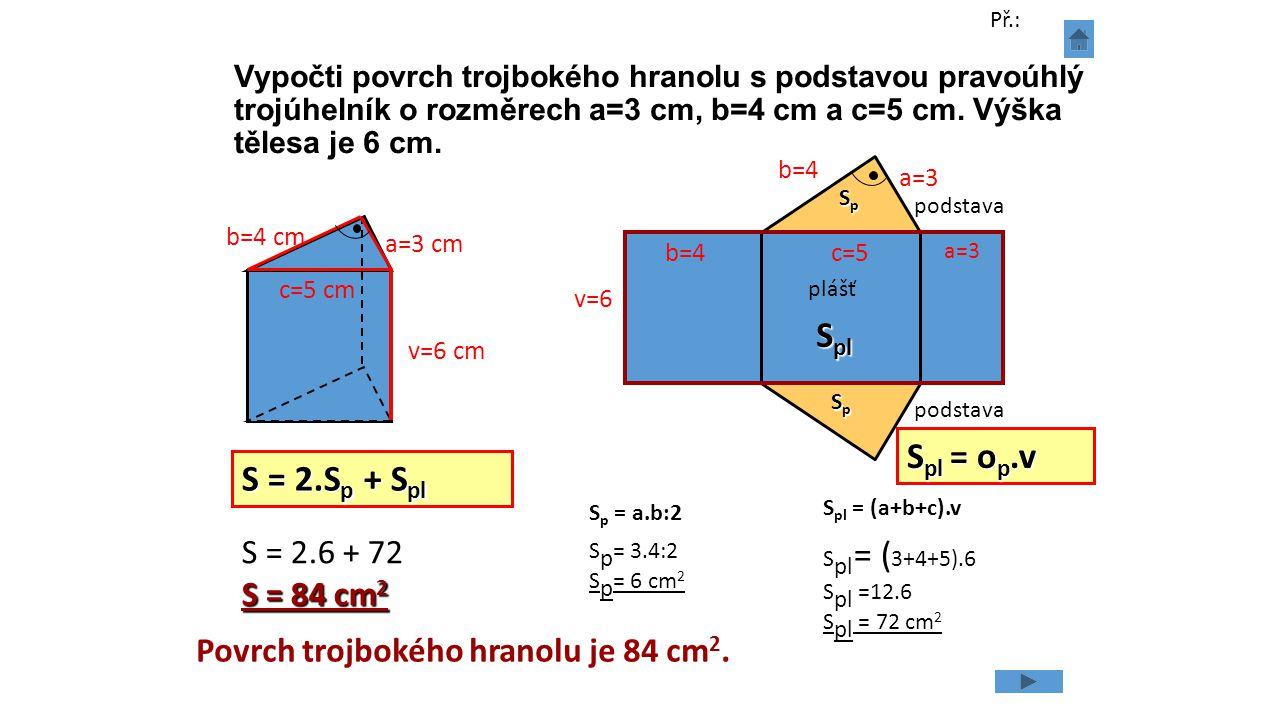 Spl Spl = op.v S = 2.Sp + Spl S = 2.6 + 72 S = 84 cm2