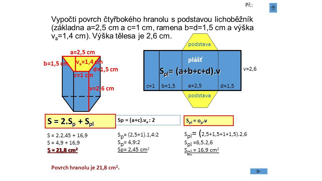 Spl= (a+b+c+d).v S = 2.Sp + Spl