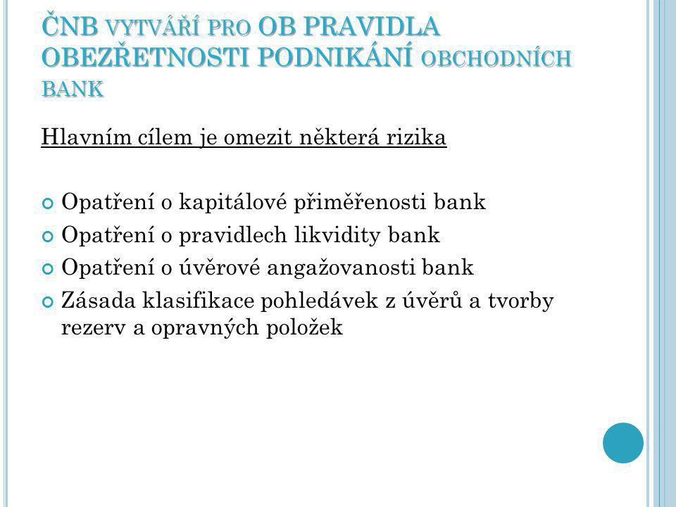 ČNB vytváří pro OB PRAVIDLA OBEZŘETNOSTI PODNIKÁNÍ obchodních bank