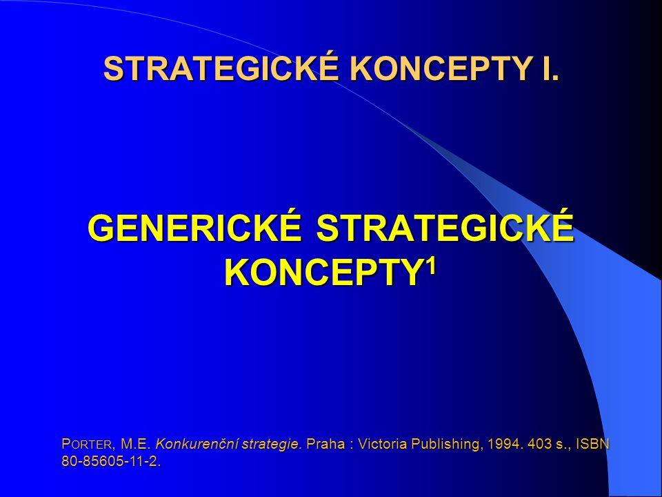 STRATEGICKÉ KONCEPTY I. GENERICKÉ STRATEGICKÉ KONCEPTY1