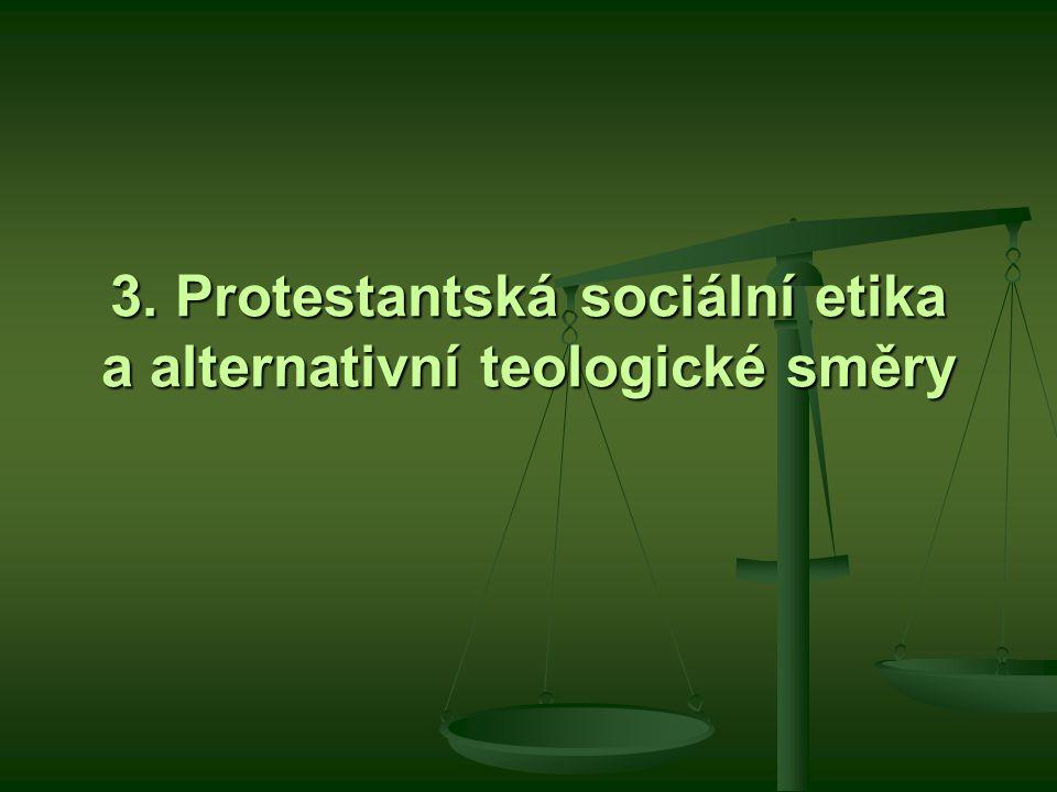 3. Protestantská sociální etika a alternativní teologické směry
