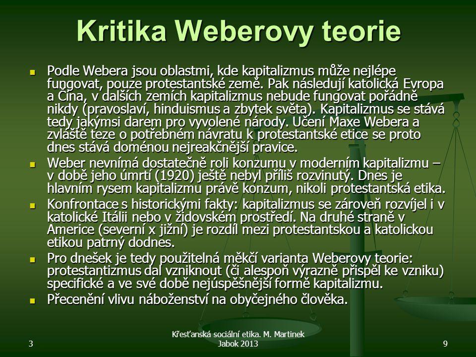 Kritika Weberovy teorie