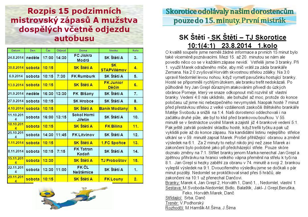 SK Štětí - SK Štětí – TJ Skorotice