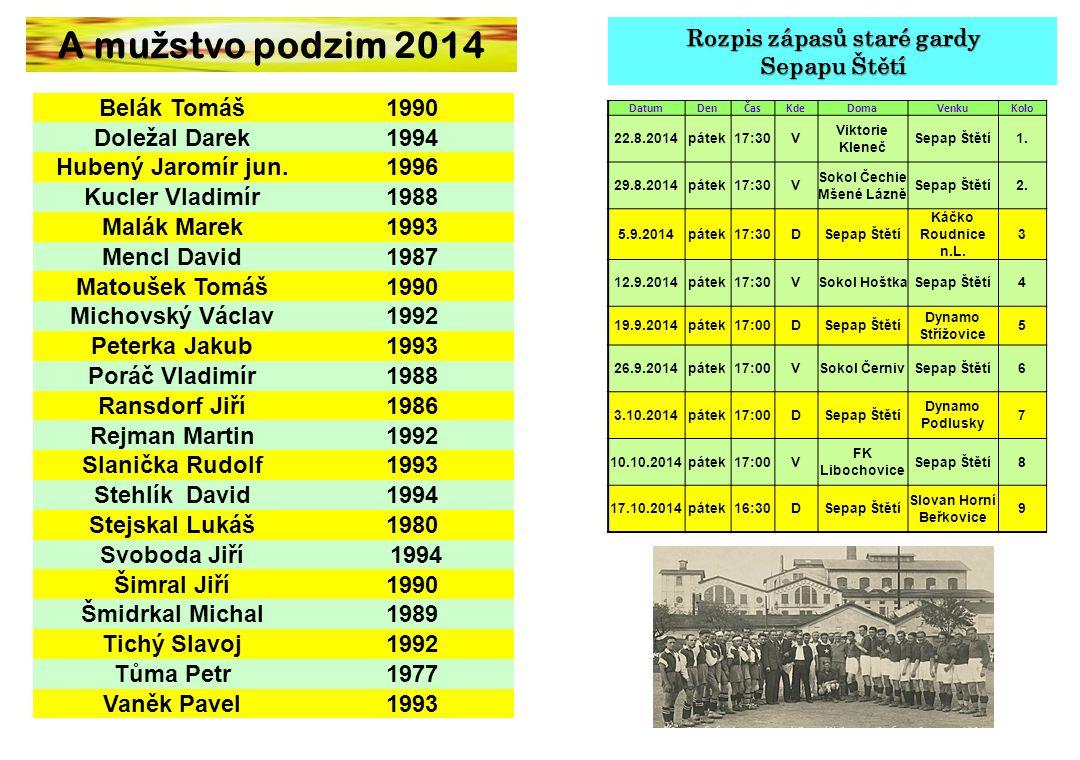 A mužstvo podzim 2014 Rozpis zápasů staré gardy Sepapu Štětí