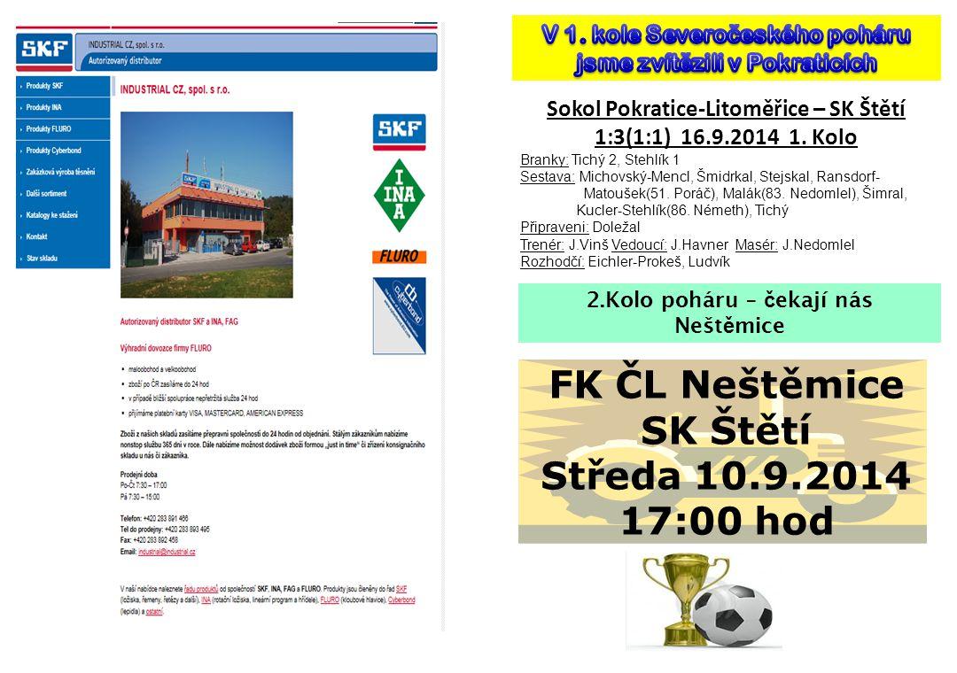 FK ČL Neštěmice SK Štětí Středa 10.9.2014 17:00 hod