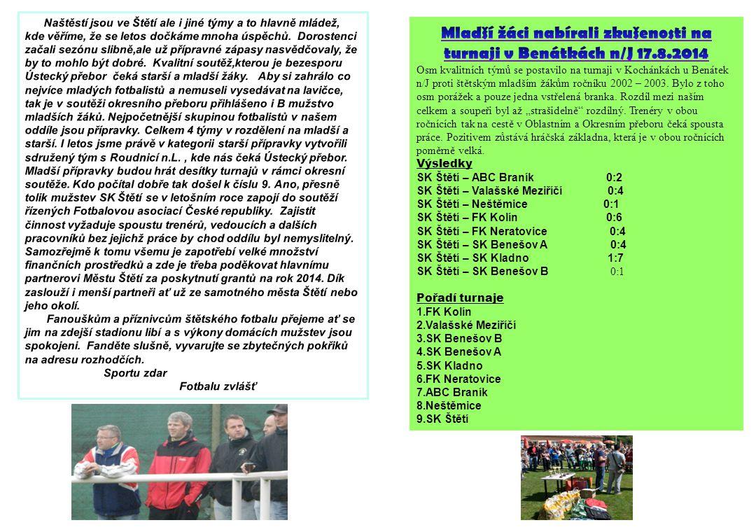 Mladší žáci nabírali zkušenosti na turnaji v Benátkách n/J 17.8.2014