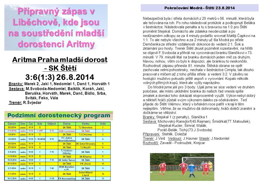Přípravný zápas v Liběchově, kde jsou na soustředění mladší dorostenci Aritmy