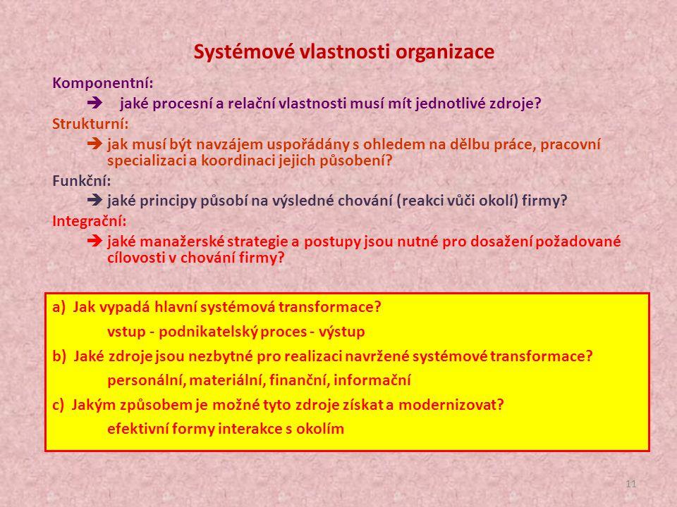 Systémové vlastnosti organizace