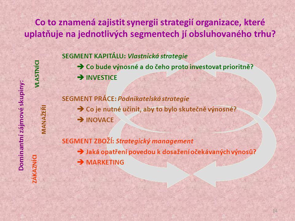 Co to znamená zajistit synergii strategií organizace, které uplatňuje na jednotlivých segmentech jí obsluhovaného trhu