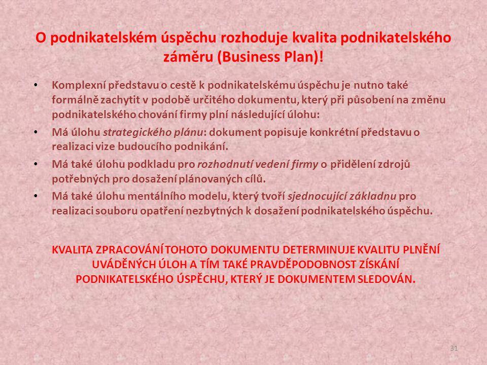 O podnikatelském úspěchu rozhoduje kvalita podnikatelského záměru (Business Plan)!