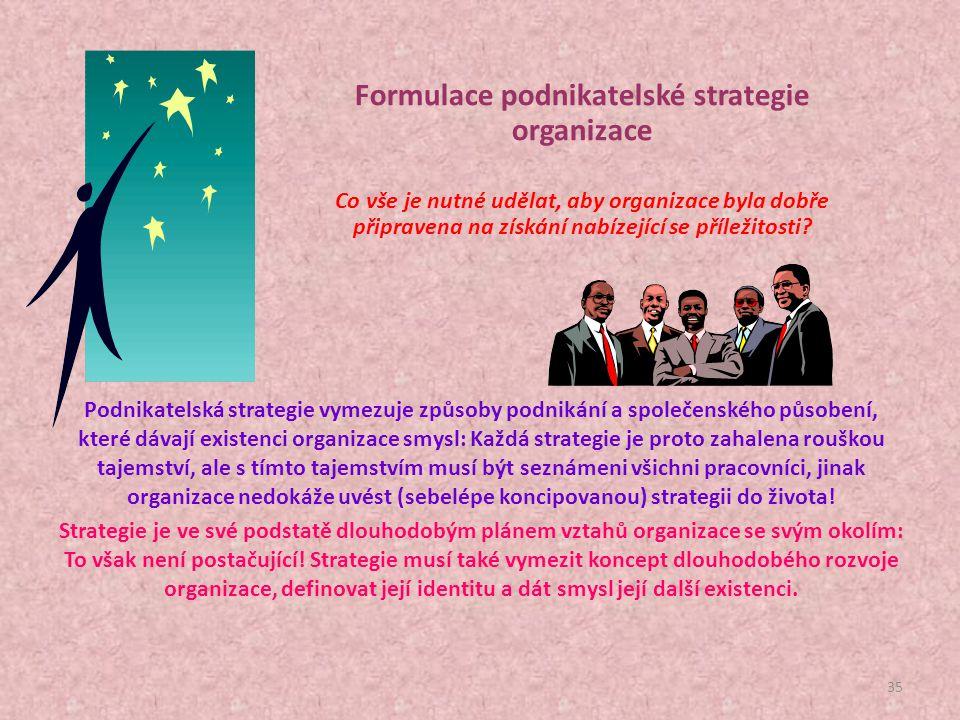 Formulace podnikatelské strategie organizace Co vše je nutné udělat, aby organizace byla dobře připravena na získání nabízející se příležitosti