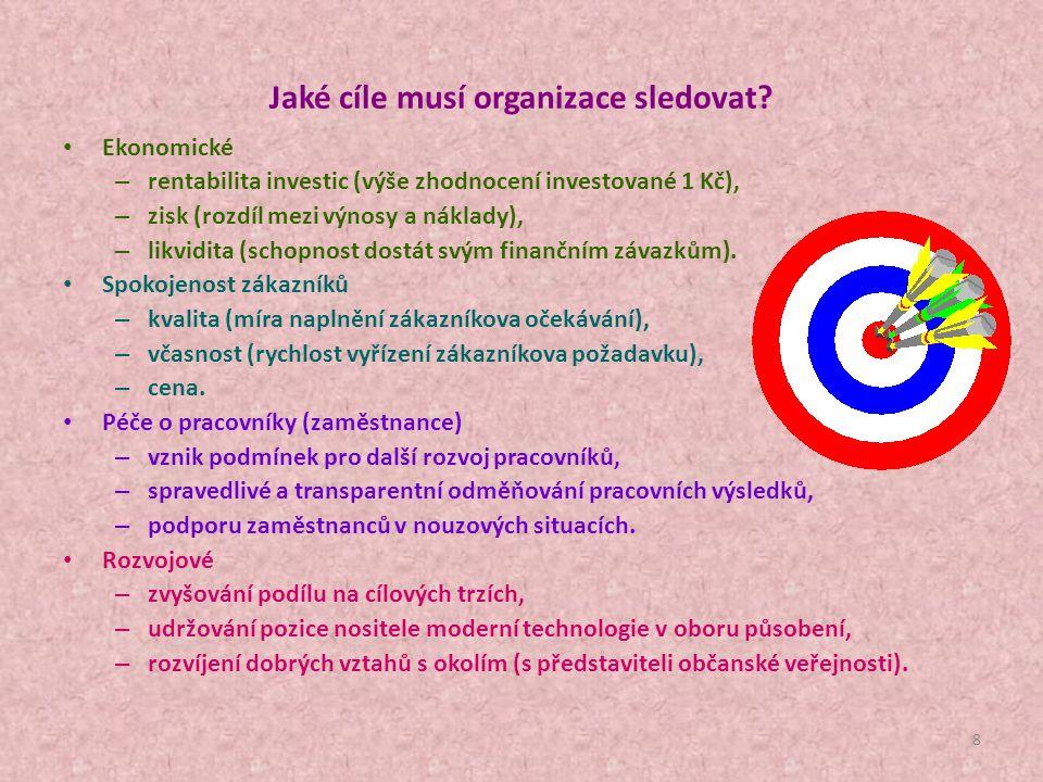 Jaké cíle musí organizace sledovat
