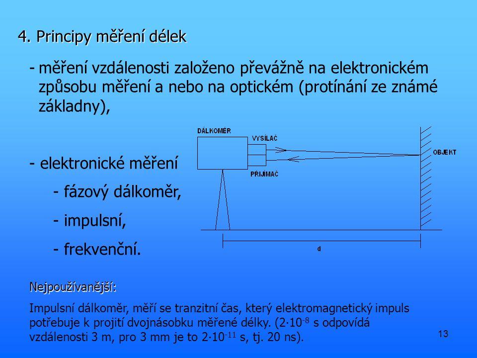 4. Principy měření délek měření vzdálenosti založeno převážně na elektronickém způsobu měření a nebo na optickém (protínání ze známé základny),