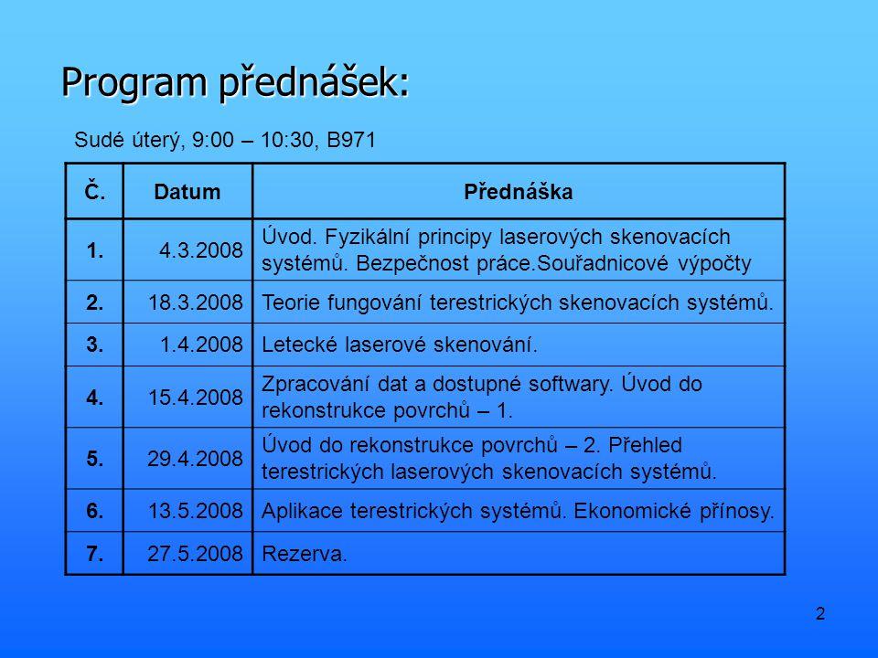 Program přednášek: Sudé úterý, 9:00 – 10:30, B971 Č. Datum Přednáška