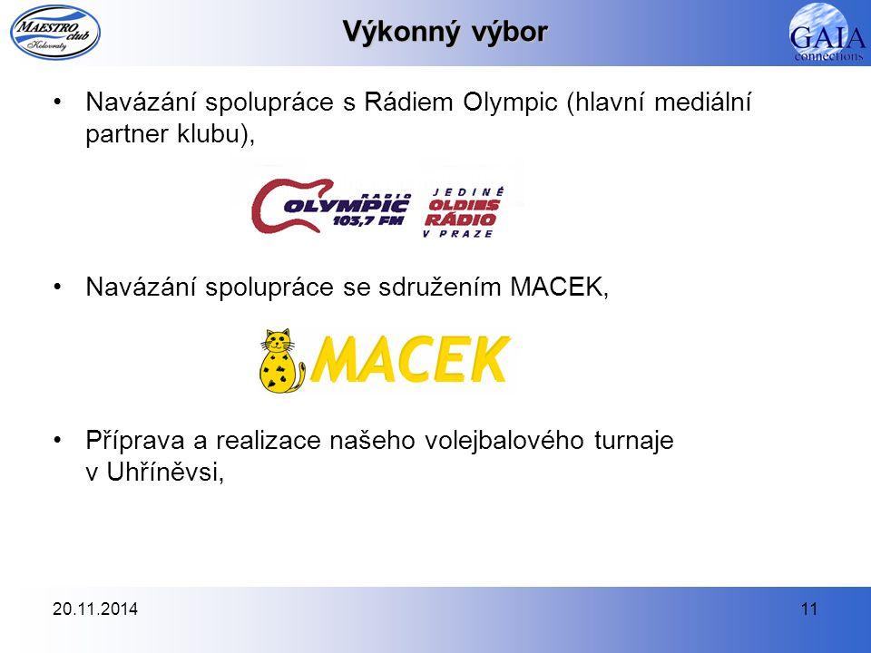 Výkonný výbor Navázání spolupráce s Rádiem Olympic (hlavní mediální partner klubu), Navázání spolupráce se sdružením MACEK,