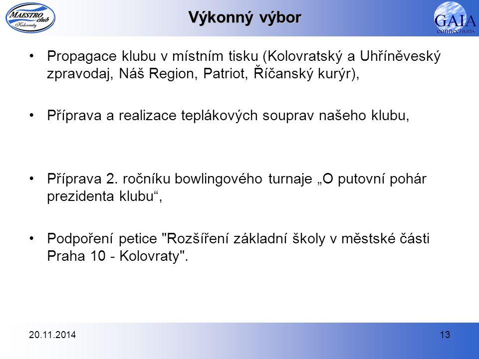 Výkonný výbor Propagace klubu v místním tisku (Kolovratský a Uhříněveský zpravodaj, Náš Region, Patriot, Říčanský kurýr),