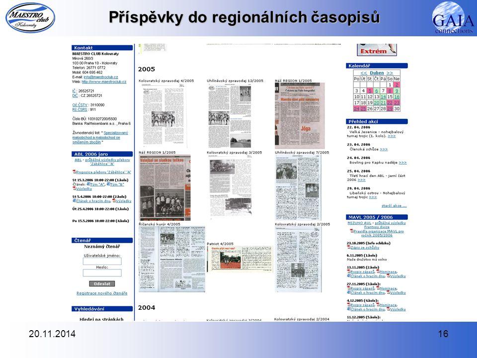 Příspěvky do regionálních časopisů