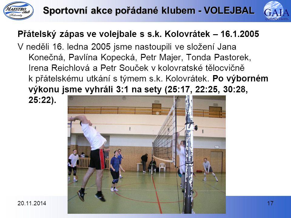 Sportovní akce pořádané klubem - VOLEJBAL