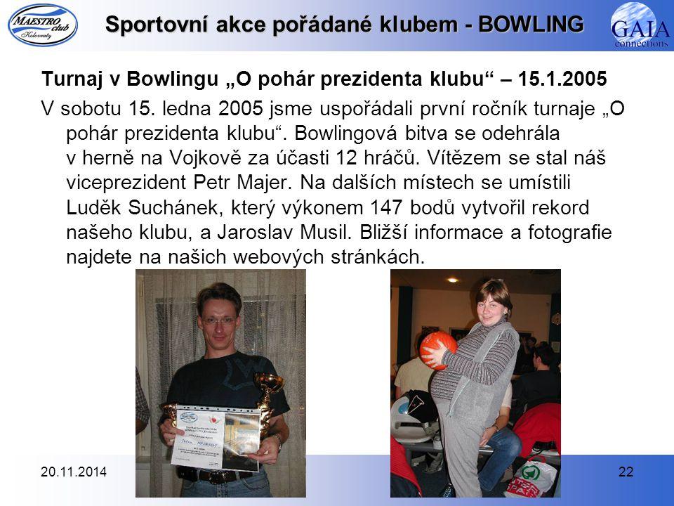 Sportovní akce pořádané klubem - BOWLING