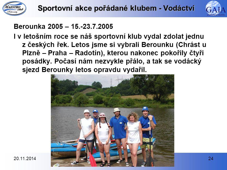 Sportovní akce pořádané klubem - Vodáctví