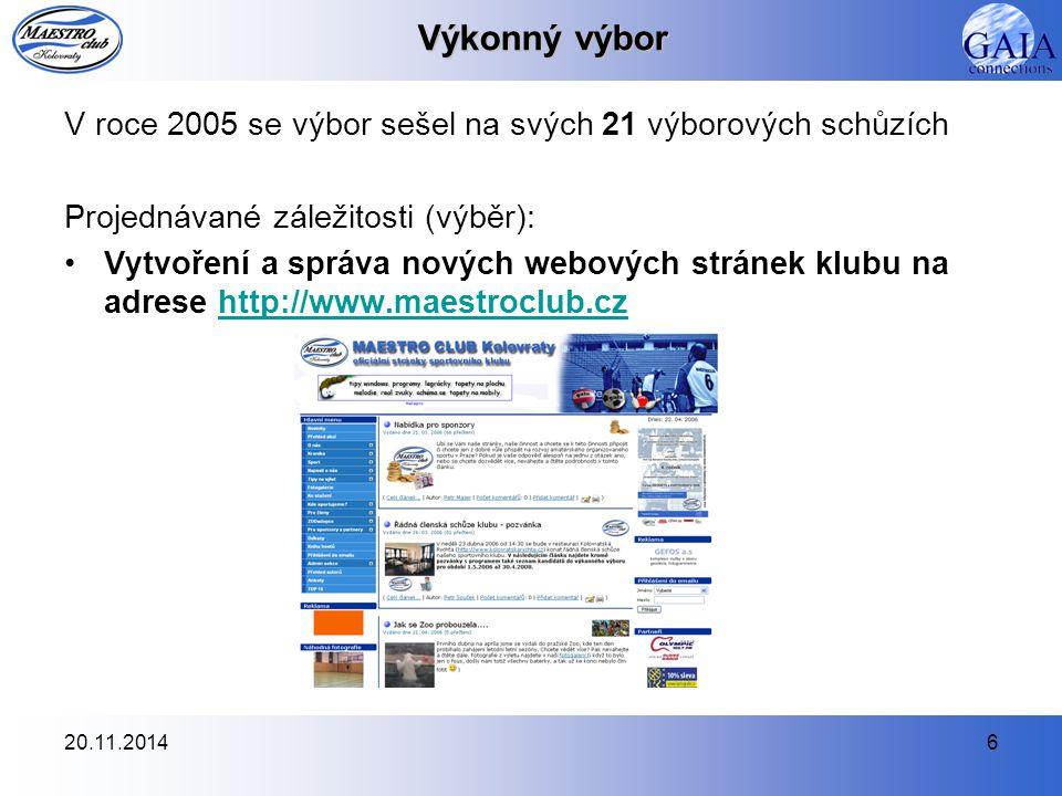 Výkonný výbor V roce 2005 se výbor sešel na svých 21 výborových schůzích. Projednávané záležitosti (výběr):